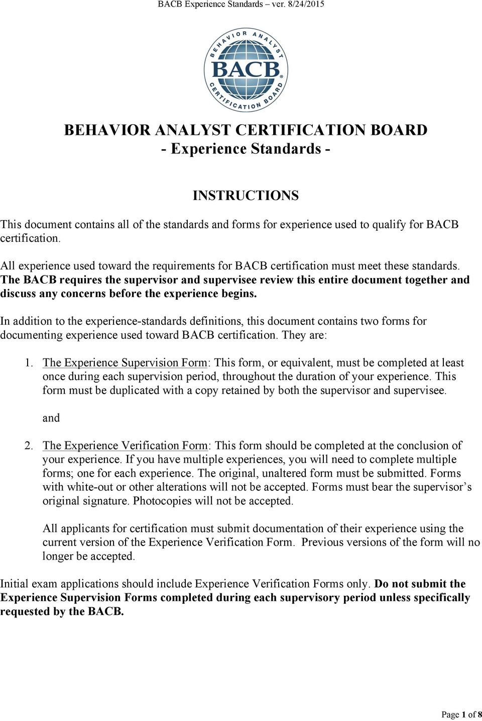 Behavior Analyst Certification Board Experience Standards Pdf