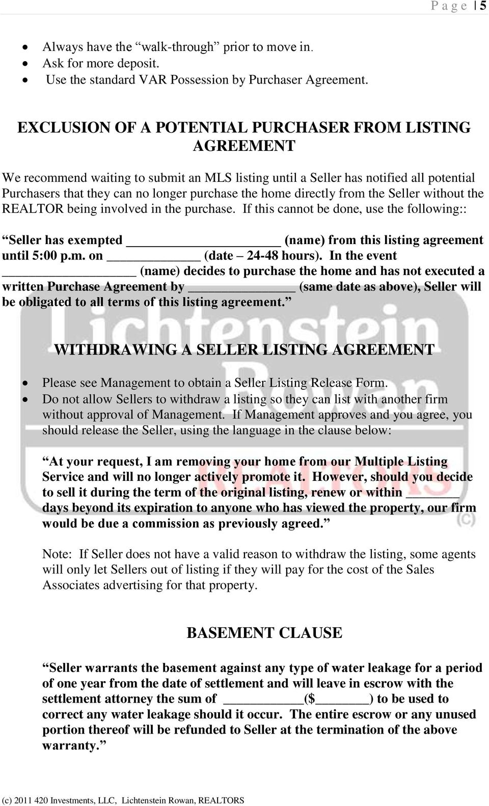 Purchase Listing Agreement Clauses Pdf