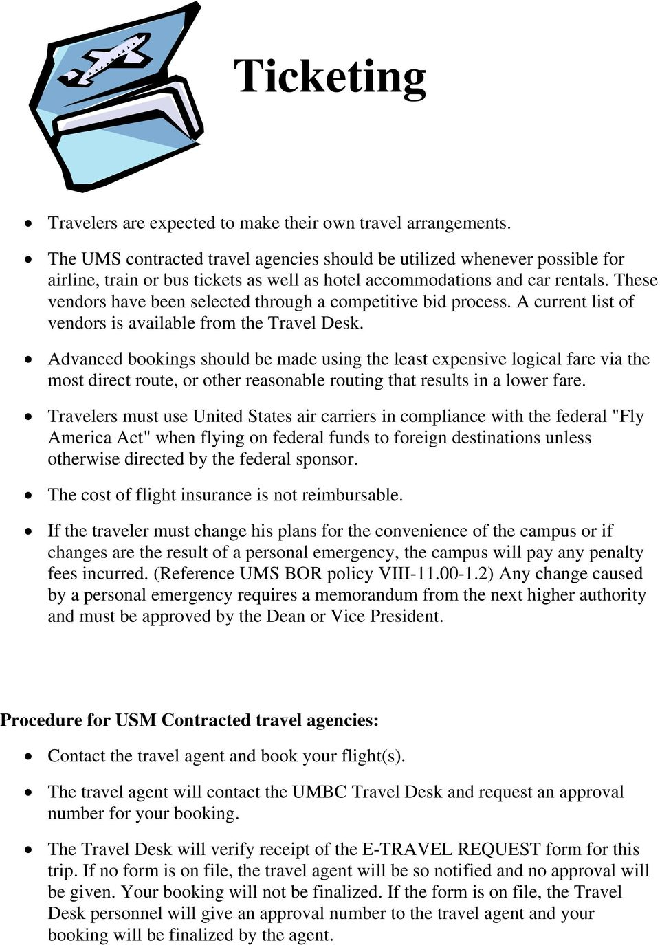 UMBC TRAVEL POLICY AND PROCEDURES - PDF