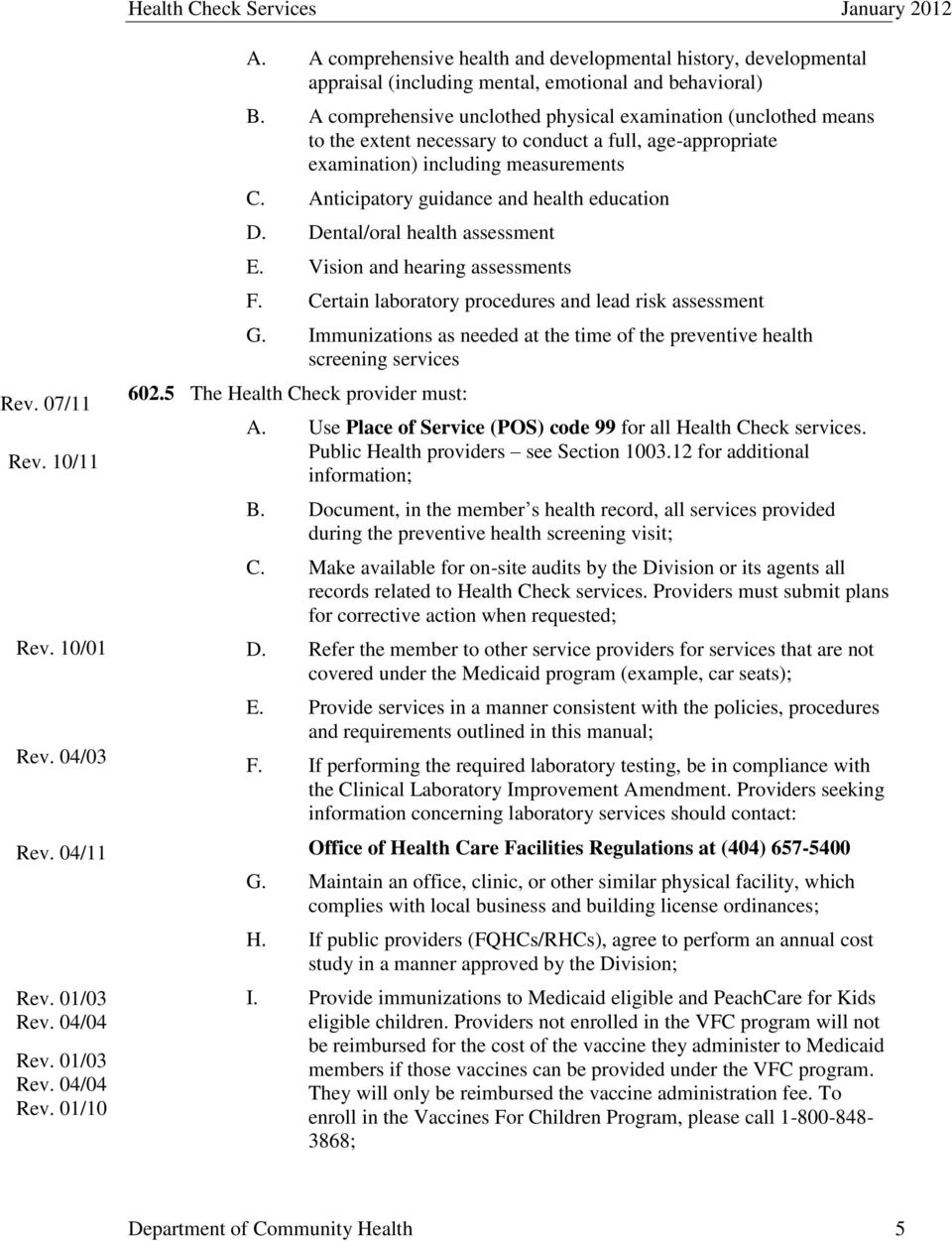 PART II POLICIES AND PROCEDURES FOR HEALTH CHECK SERVICES