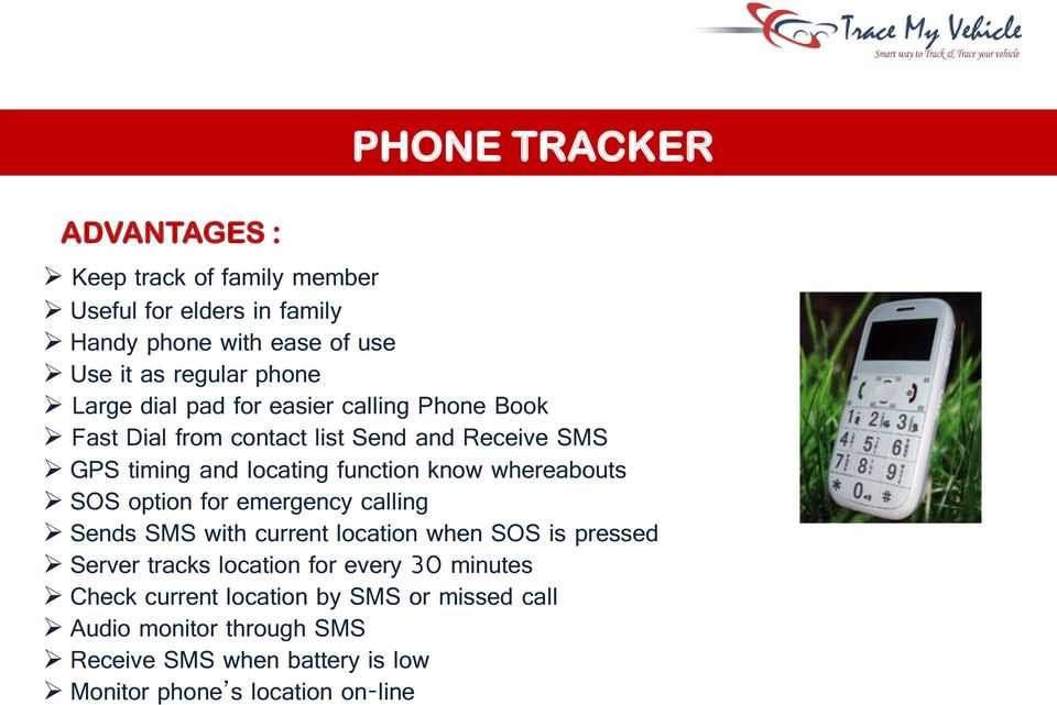 whereabouts SOS option for emergency calling Sends SMS with current location when SOS is pressed Server tracks location for every 30