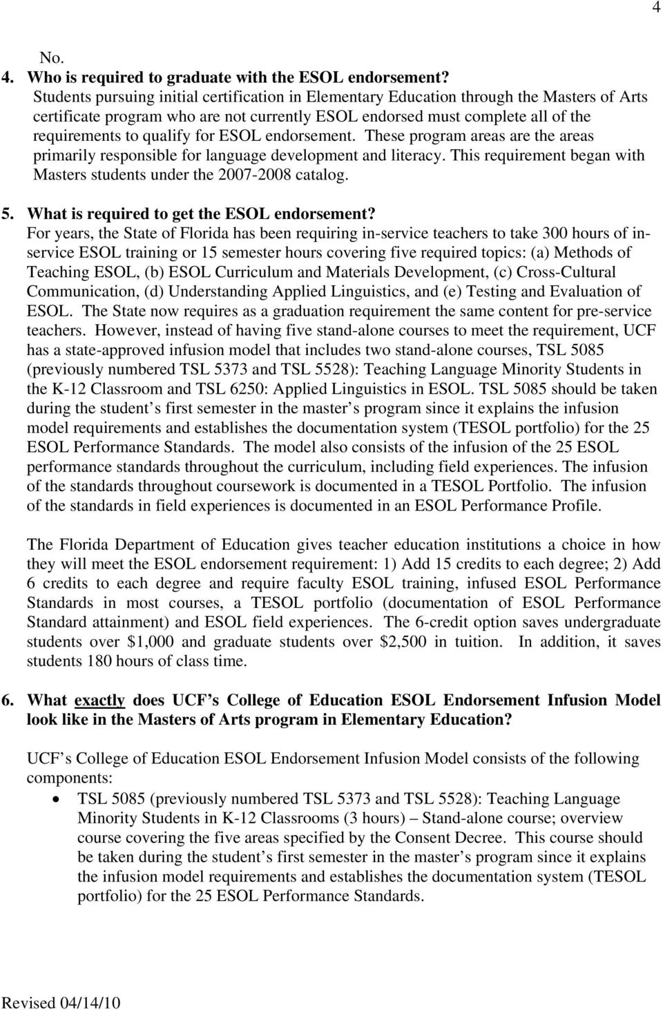 College Of Education Esol Endorsement Infusion Model Student
