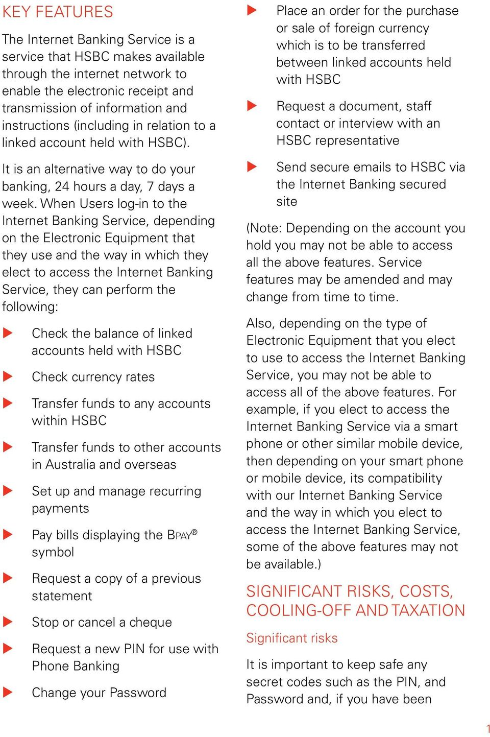 HSBC Internet Banking  Combined Product Disclosure Statement and