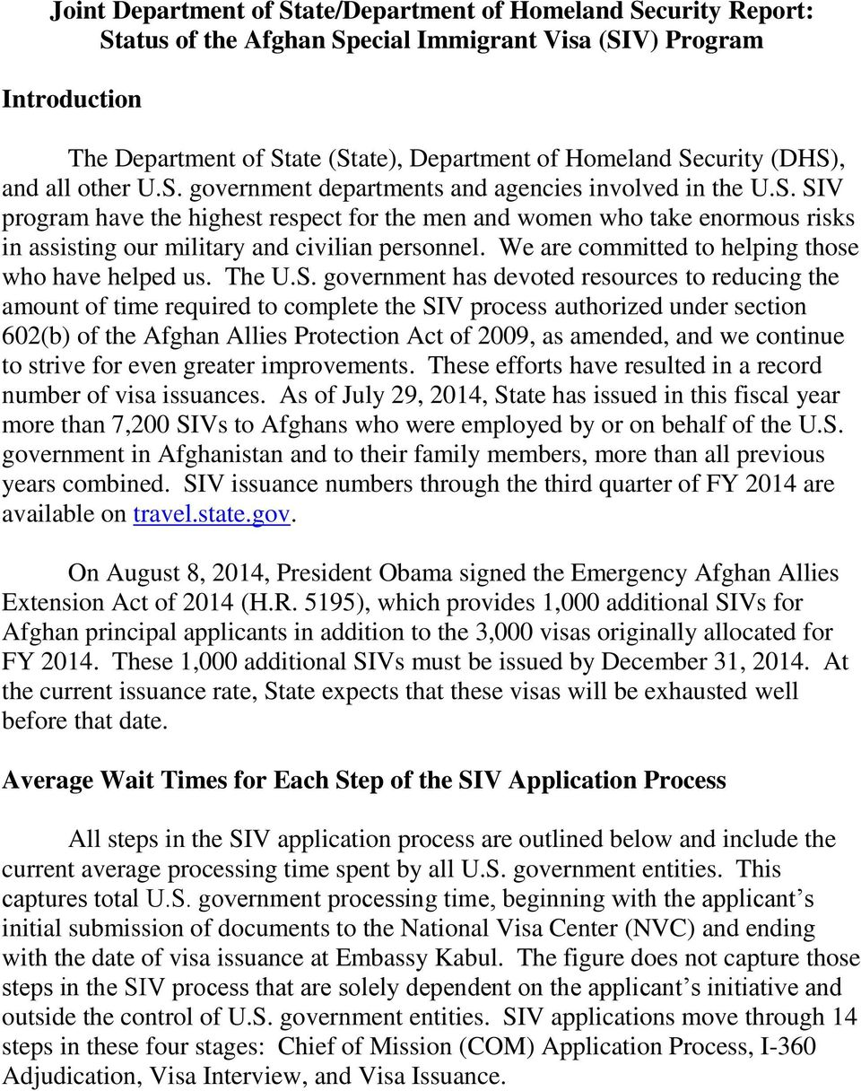 Joint Department of State/Department of Homeland Security