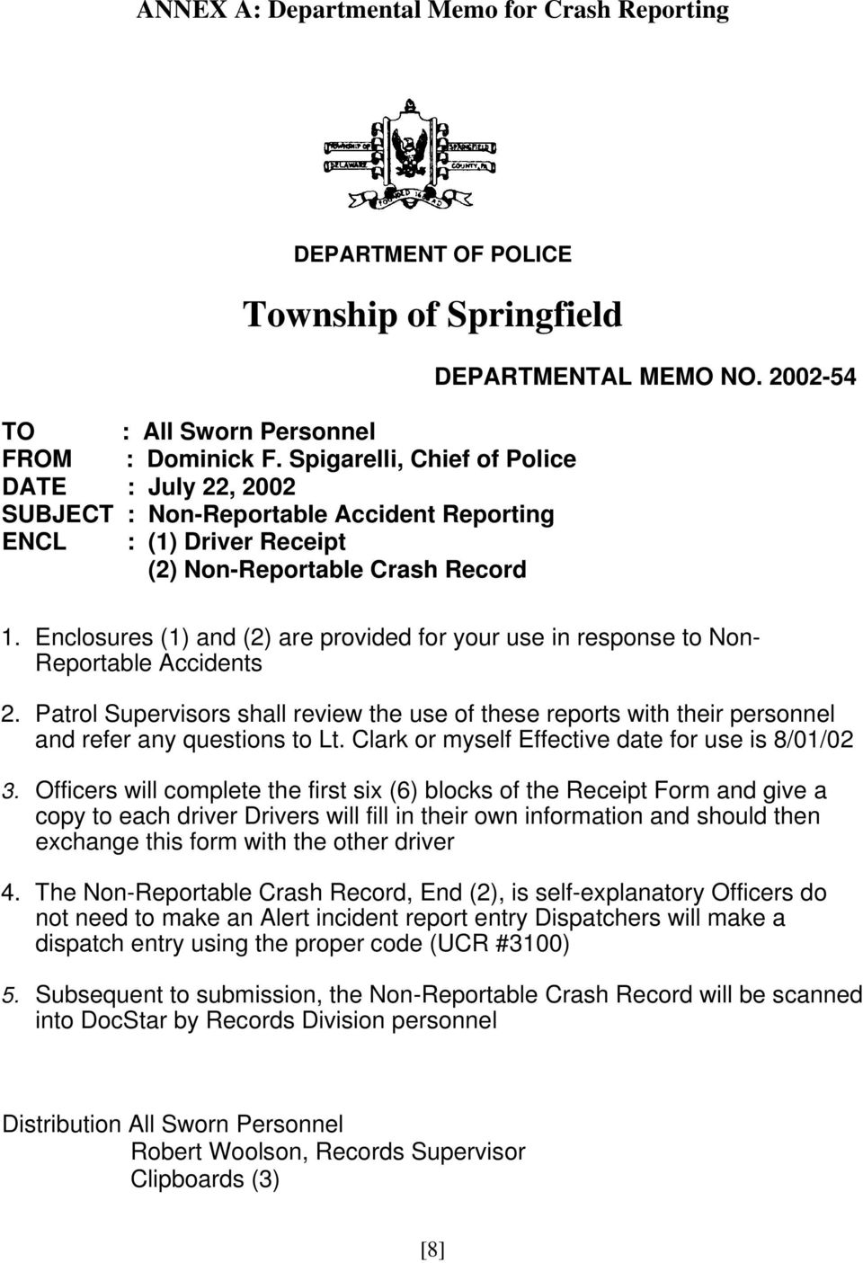 NON-REPORTABLE VEHICLE CRASH REPORTS FOR THE SPRINGFIELD POLICE