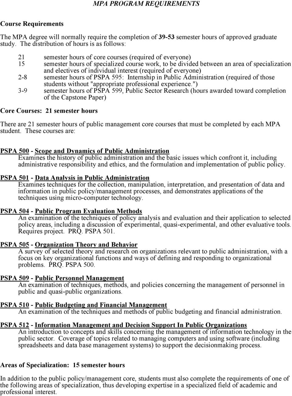 "electives of individual interest (required of everyone) 2-8 semester hours of PSPA 595: Internship in Public Administration (required of those students without ""appropriate professional experience."