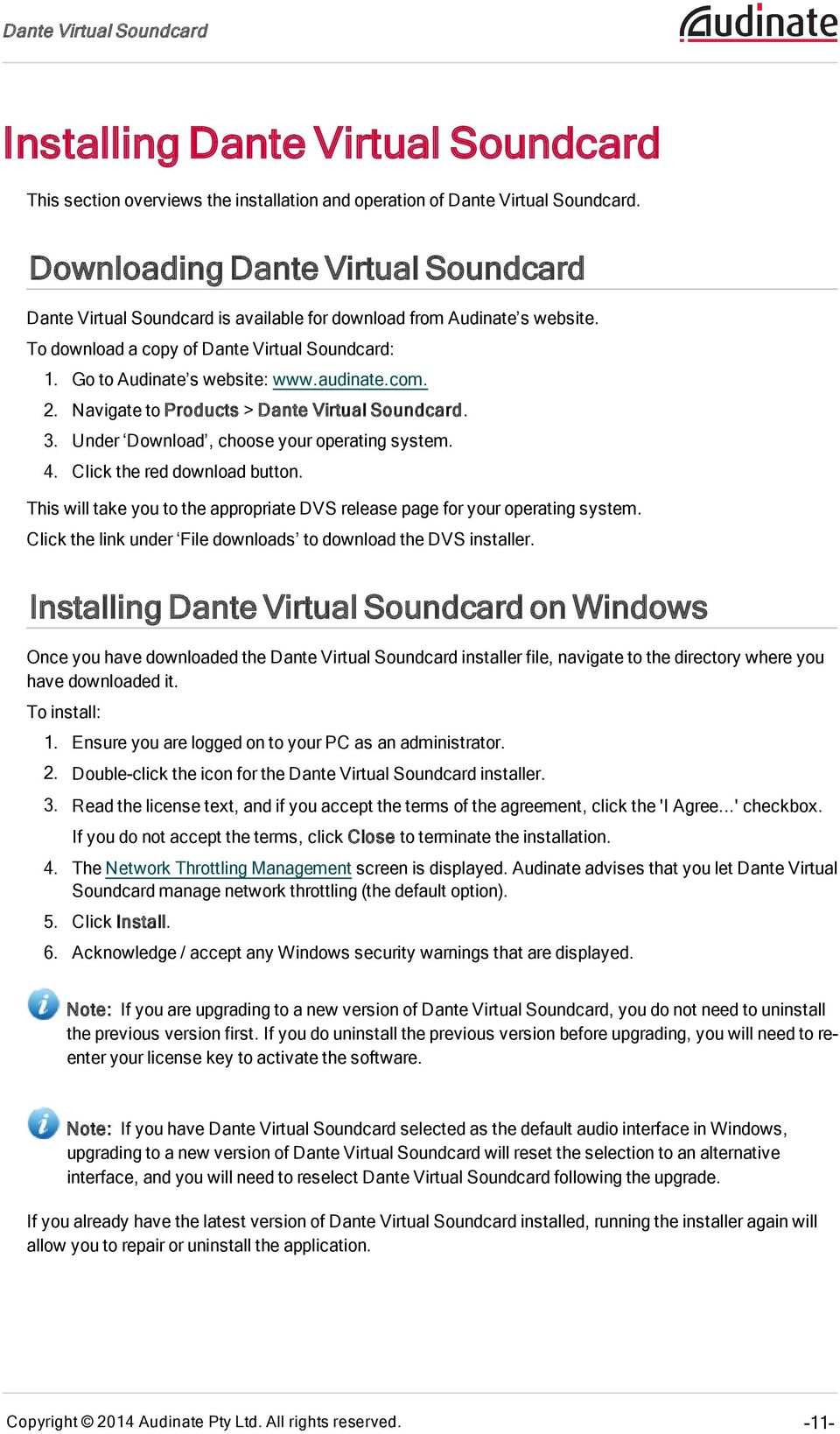 Dante Virtual Soundcard - PDF