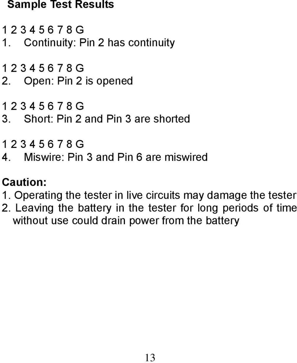 Instruction Manual 2in1 Lan Tester Multimeter Model La Pdf Three Way Switch Miswired Miswire Pin 3 And 6 Are Caution 1
