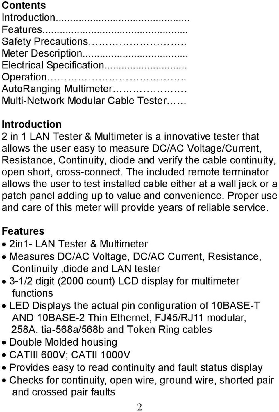 Instruction Manual. 2in1 LAN Tester & Multimeter. Model: LA PDF