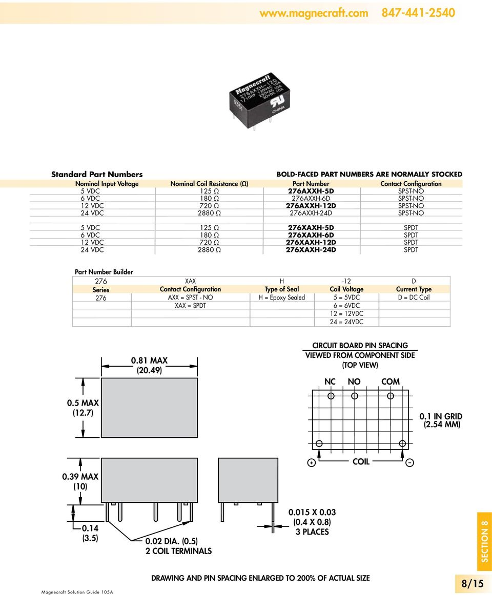 Electromechanical Printed Circuit Board Pdf Reed 4 Pin Relay Wiring Diagram 276xxh 5d 6d 2d 24d Contact Configuration
