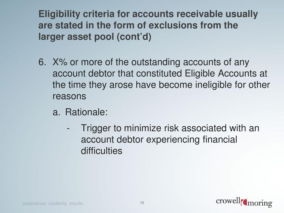X% or more of the outstanding accounts of any account debtor that constituted Eligible Accounts at