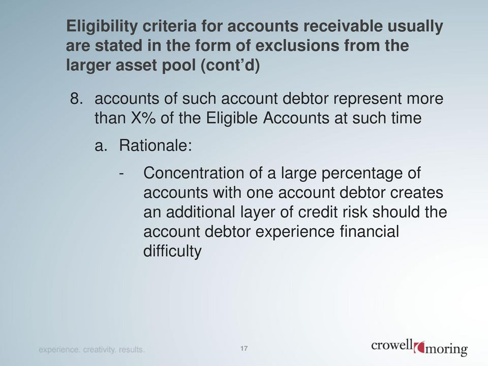 accounts of such account debtor represent more than X% of the Eligible Accounts at such time a.
