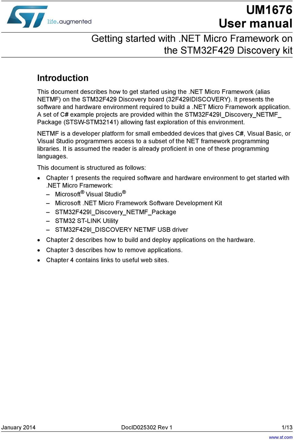 UM1676 User manual. Getting started with.net Micro Framework ... on