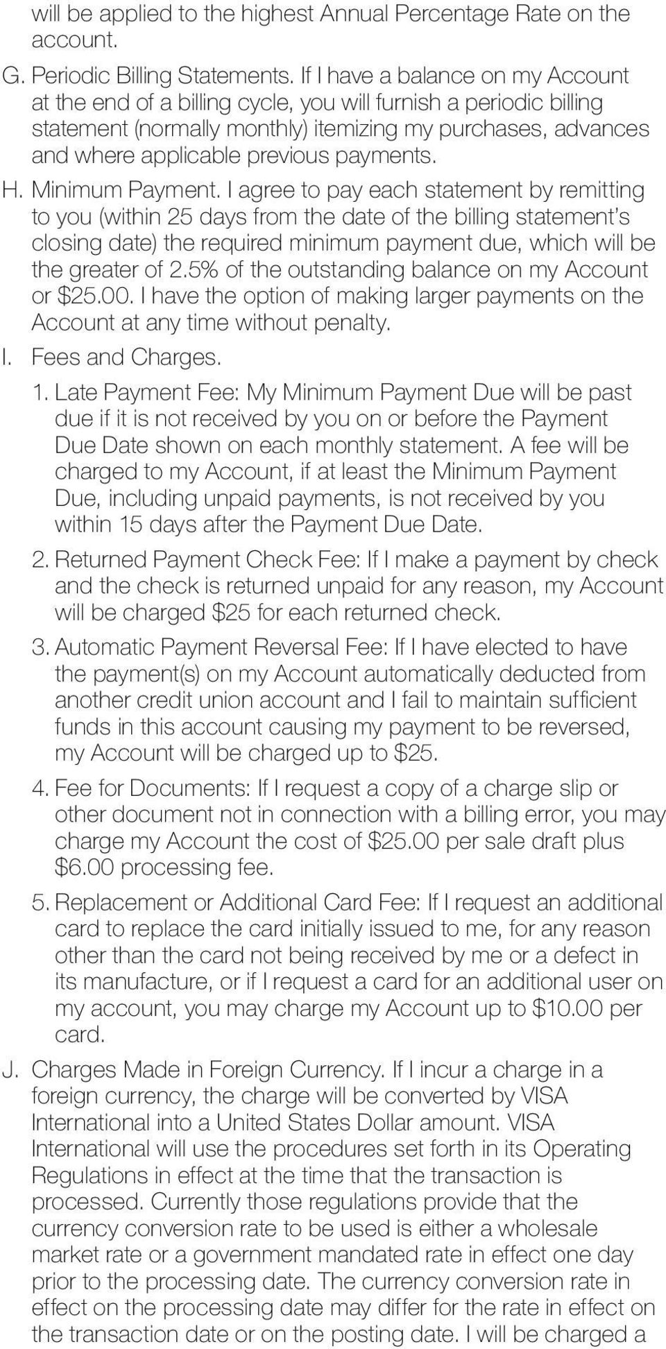 payments. H. Minimum Payment.