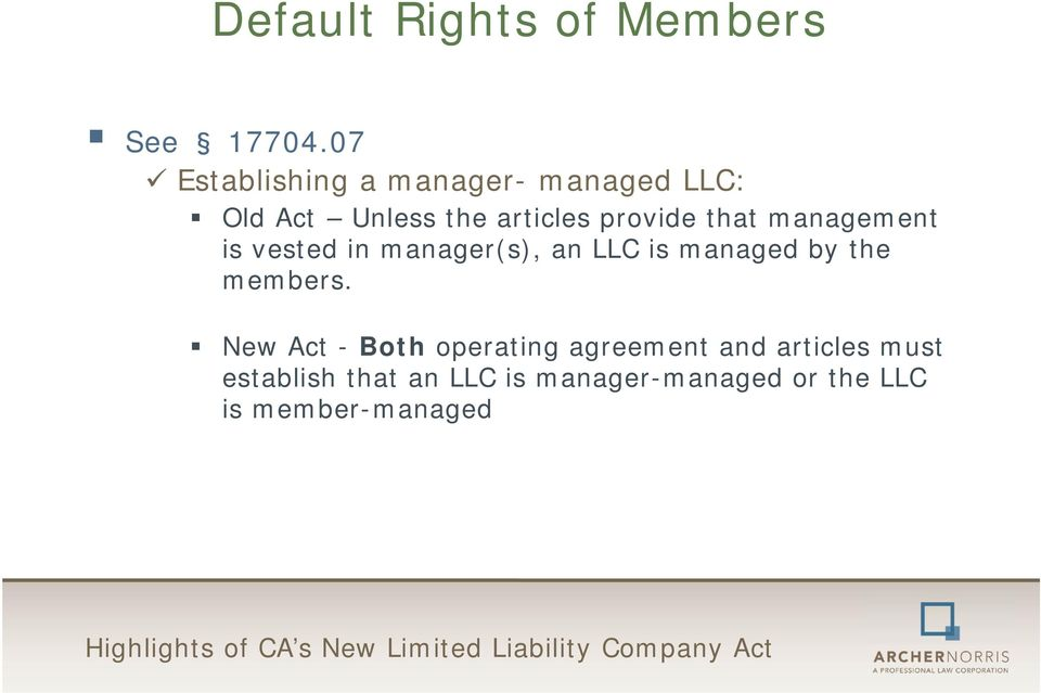 Highlights Of Ca S New Limited Liability Company Act Pdf