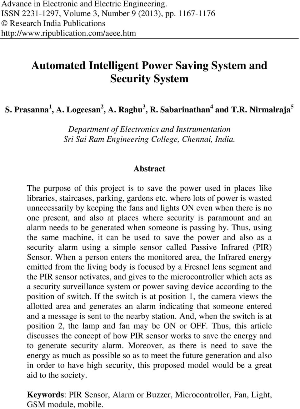 Automated Intelligent Power Saving System And Security Pdf Ac Fan Speed Control Using Android Mobile Microtronics Technologies Ghu 3 R Sabarinathan 4 Tr Nirmalraja 5 Department Of Electronics Instrumentation