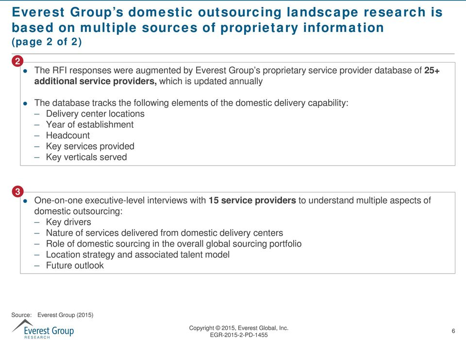 establishment Headcount Key services provided Key verticals served 3 One-on-one executive-level interviews with 15 service providers to understand multiple aspects of domestic outsourcing: Key
