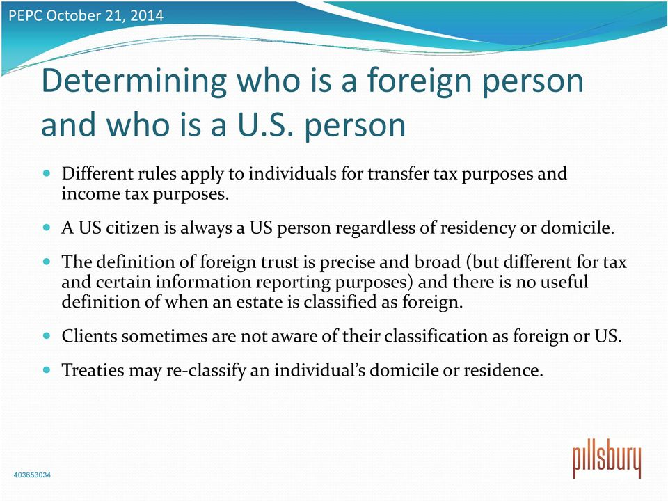 A US citizen is always a US person regardless of residency or domicile.