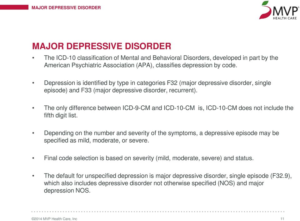 chapter 5 mental, behavior and neurodevelopment disorders (f01 f99the only difference between icd 9 cm and icd 10 cm is 12 major depressive disorder major depressive disorder