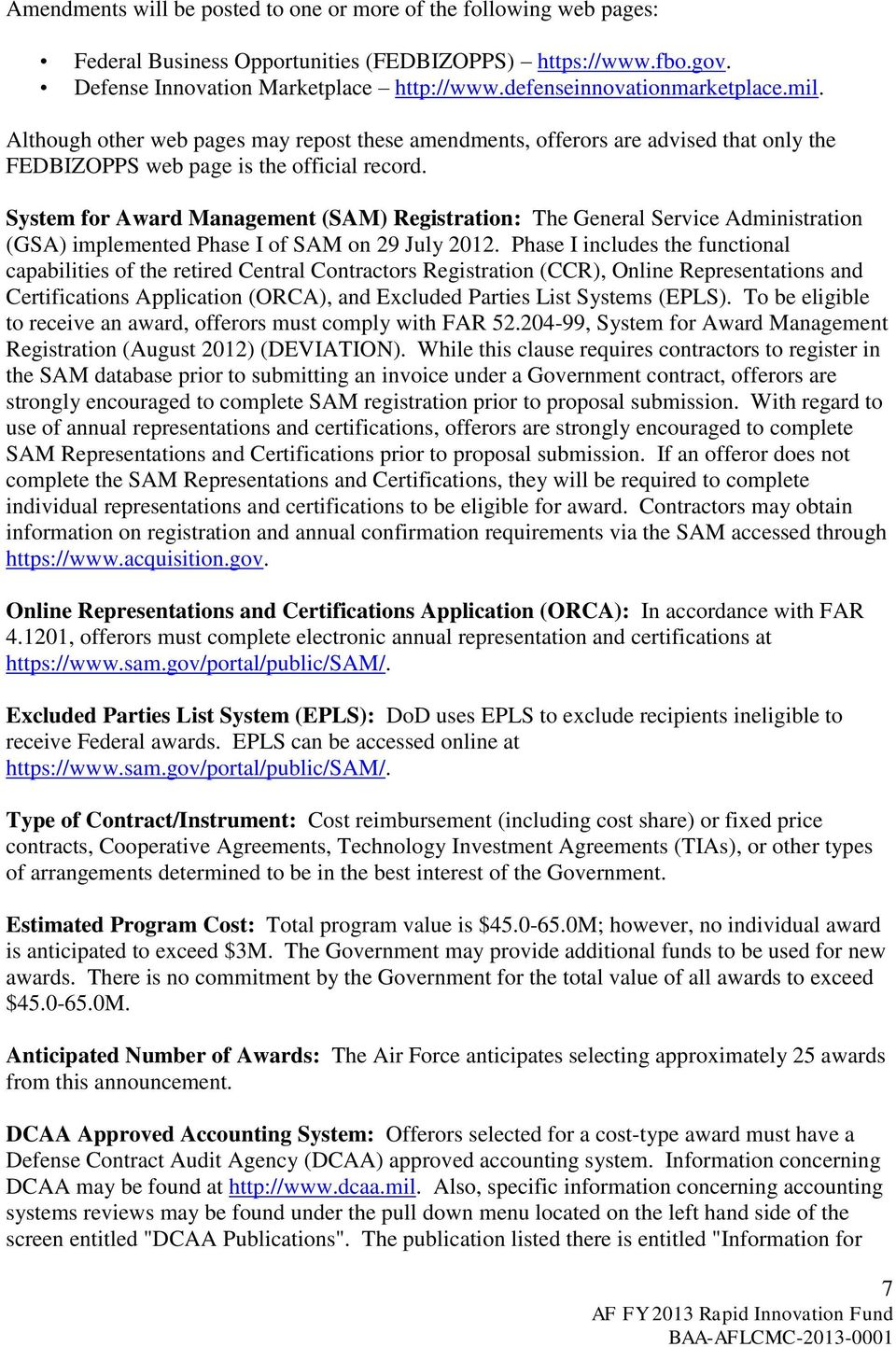 Air Force Fy 2013 Rapid Innovation Fund Broad Agency