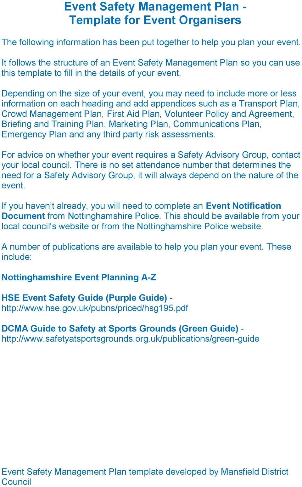 Event Safety Management Plan - Template for Event Organisers - PDF