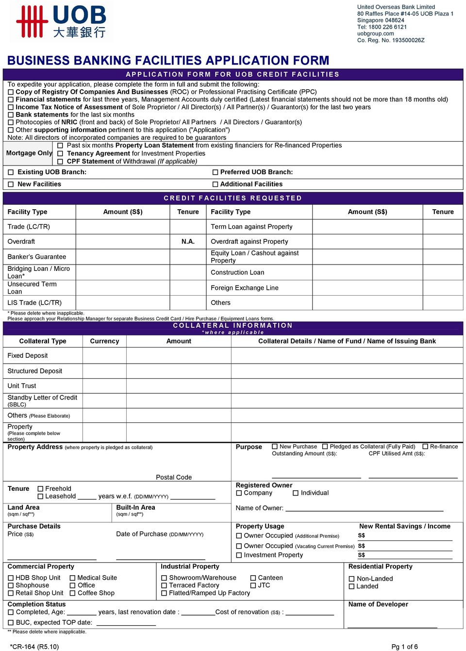BUSINESS BANKING FACILITIES APPLICATION FORM - PDF