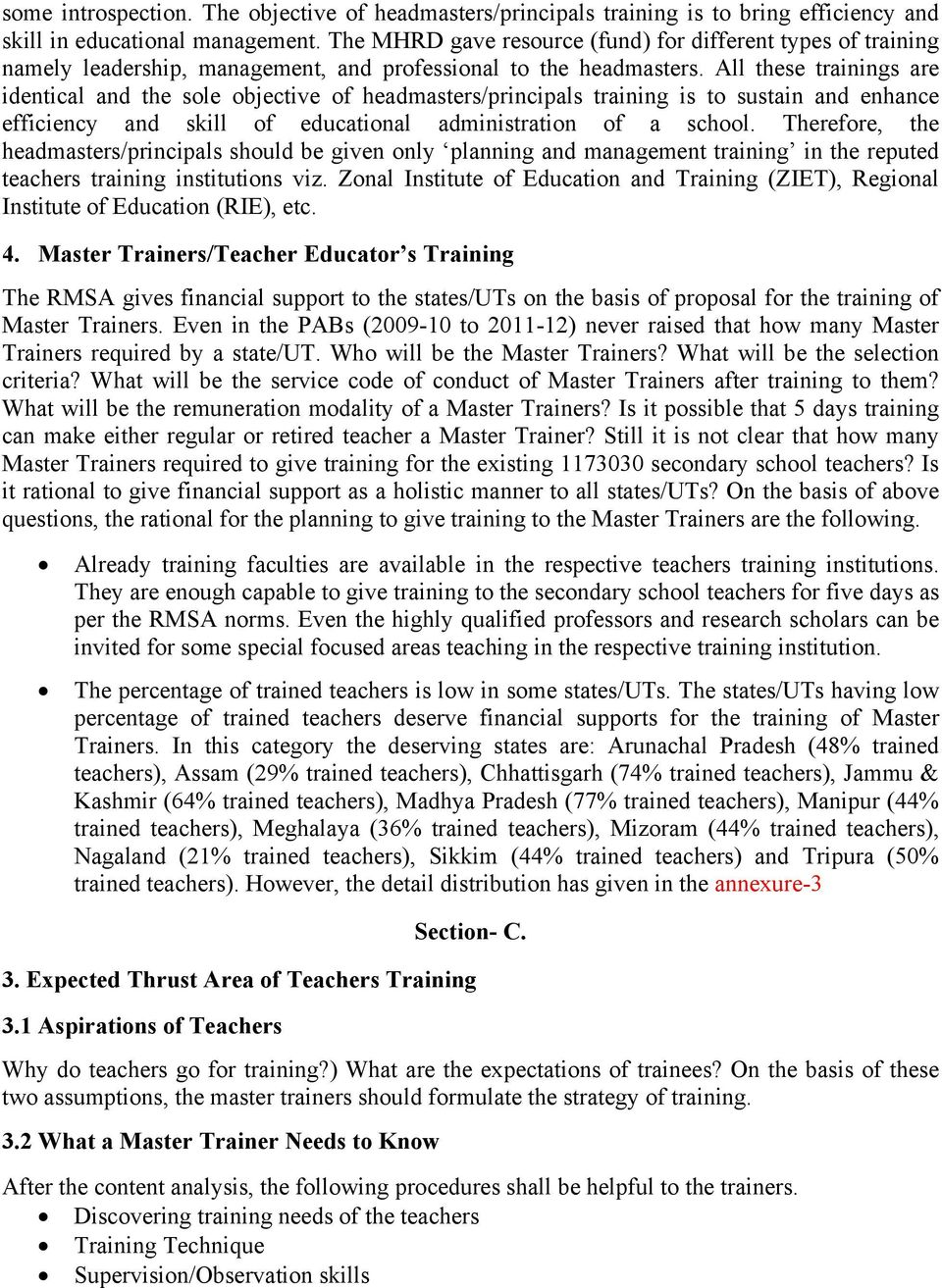 Planning for Teachers, Headmasters/Principals and Master