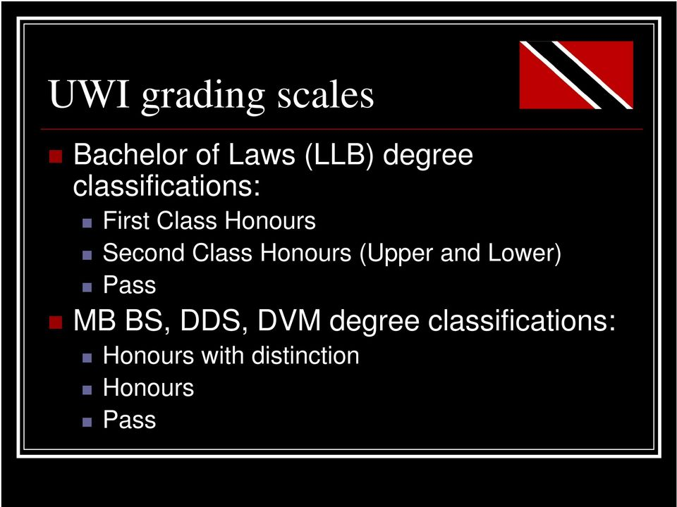 Honours (Upper and Lower) Pass MB BS, DDS, DVM