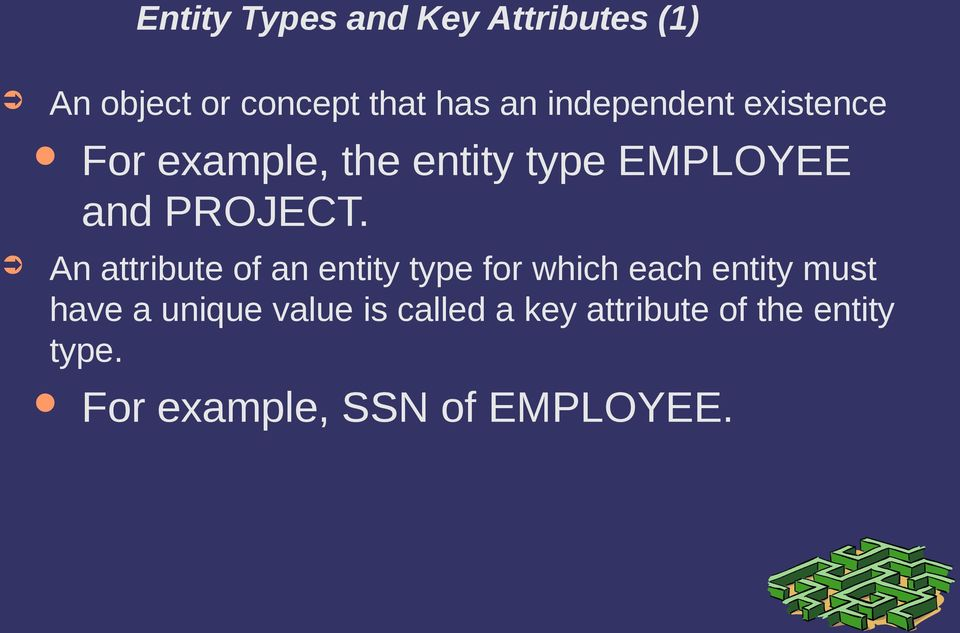 An attribute of an entity type for which each entity must have a unique