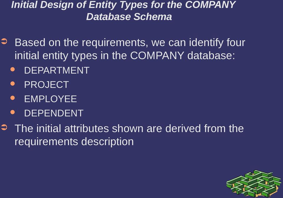 types in the COMPANY database: DEPARTMENT PROJECT EMPLOYEE