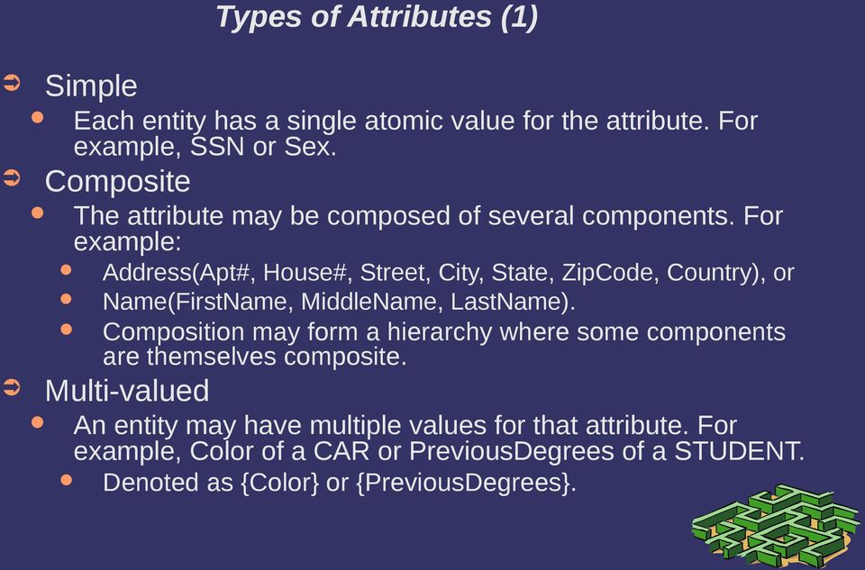 For example: Address(Apt#, House#, Street, City, State, ZipCode, Country), or Name(FirstName, MiddleName, LastName).