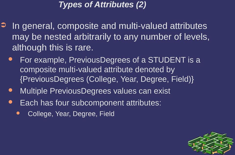 For example, PreviousDegrees of a STUDENT is a composite multi-valued attribute denoted by