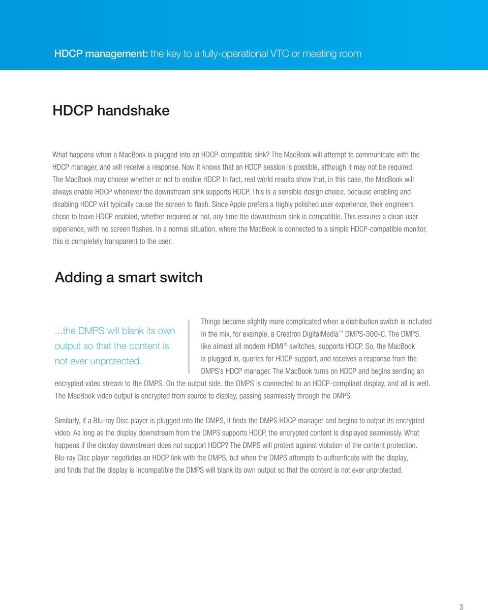 White Paper  HDCP management: the key to a fully-operational VTC or