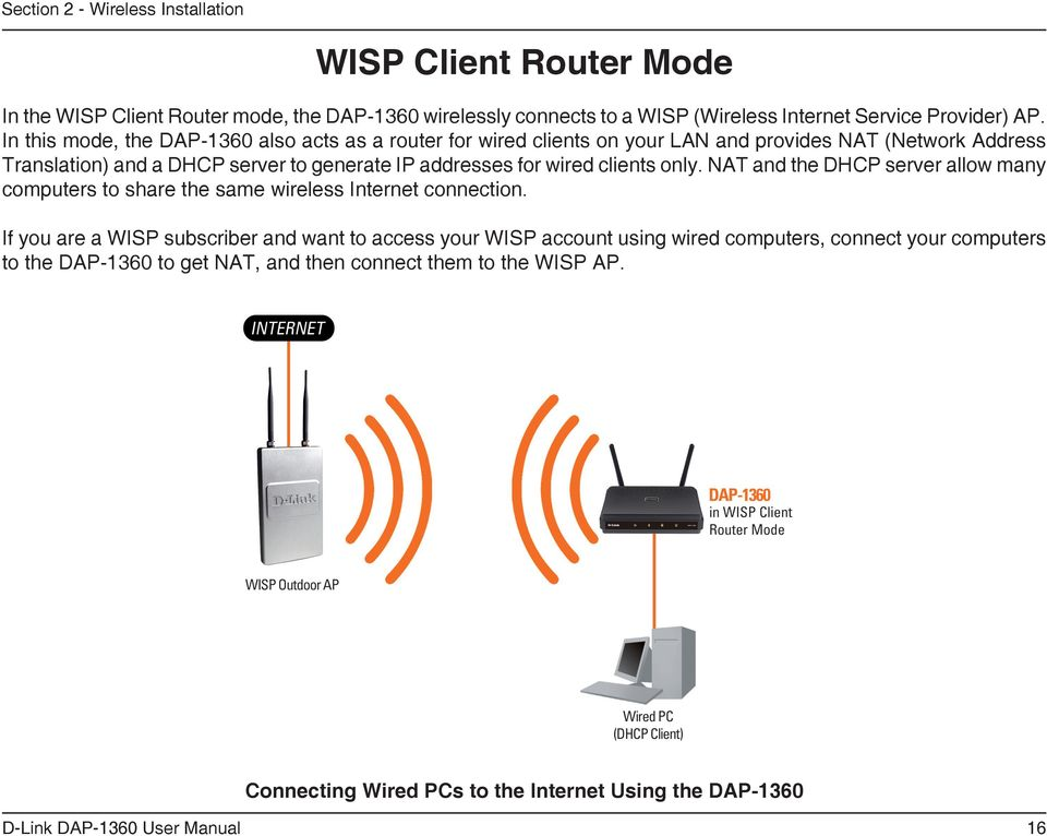 wired clients only. NAT and the DHCP server allow many computers to share the same wireless Internet connection.