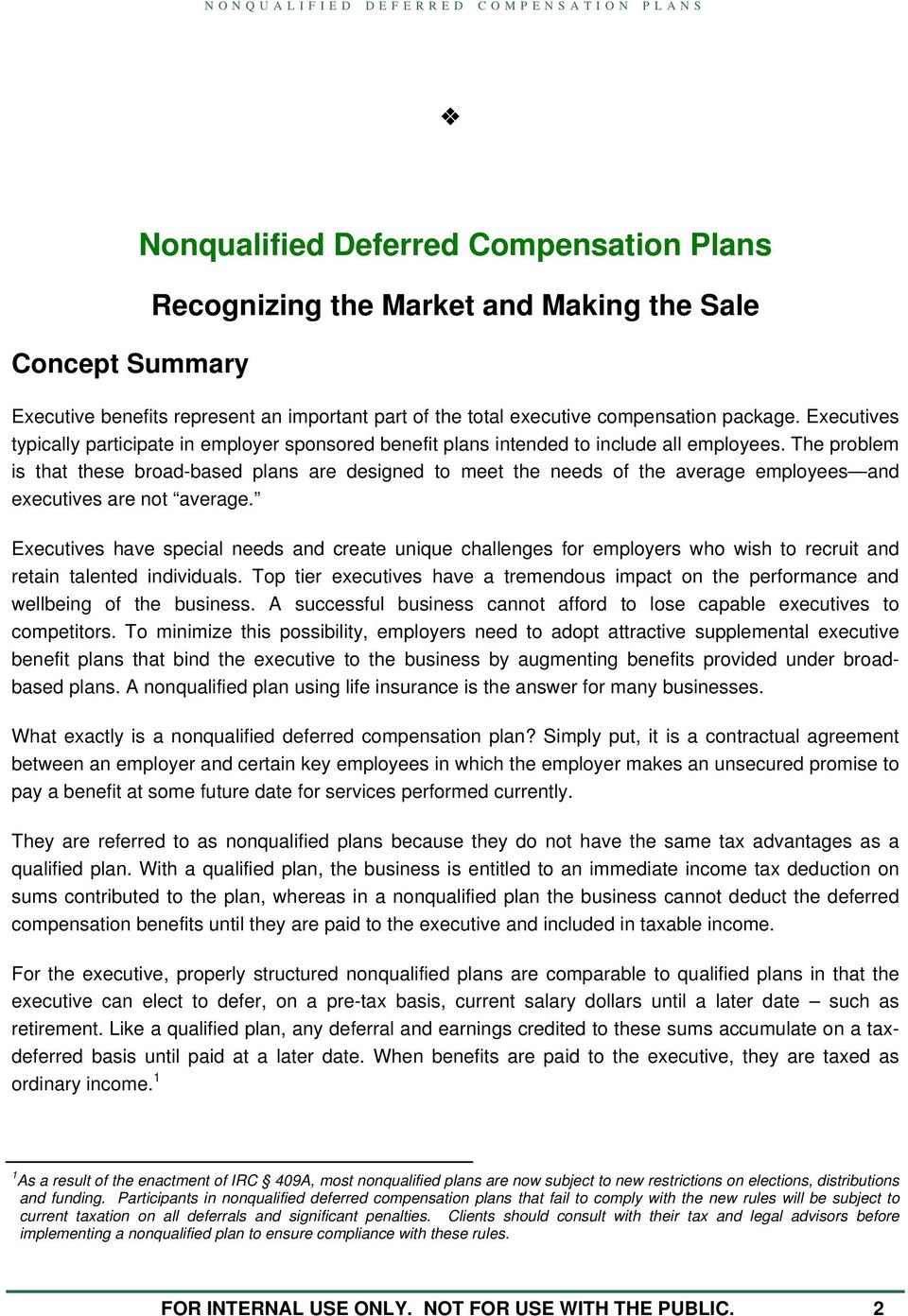 Nonqualified Deferred Compensation Plans Pdf Free Download