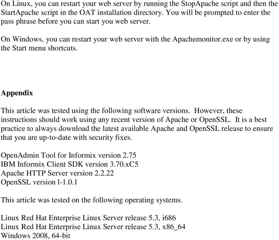 Securing the OpenAdmin Tool for Informix web server with HTTPS - PDF