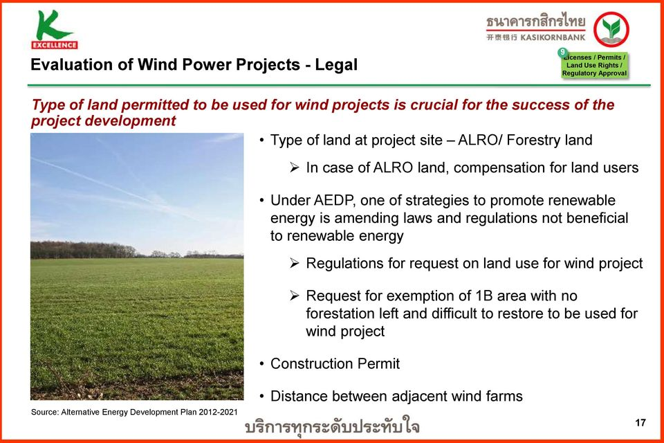 renewable energy is amending laws and regulations not beneficial to renewable energy Regulations for request on land use for wind project Request for exemption of 1B area with