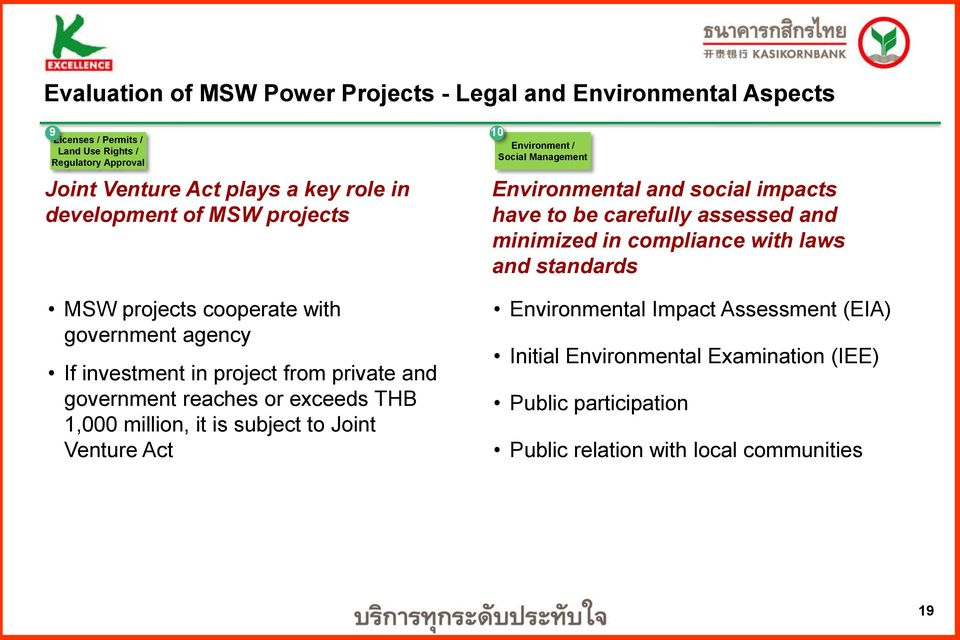 million, it is subject to Joint Venture Act 10 Environment / Social Management Environmental and social impacts have to be carefully assessed and minimized in