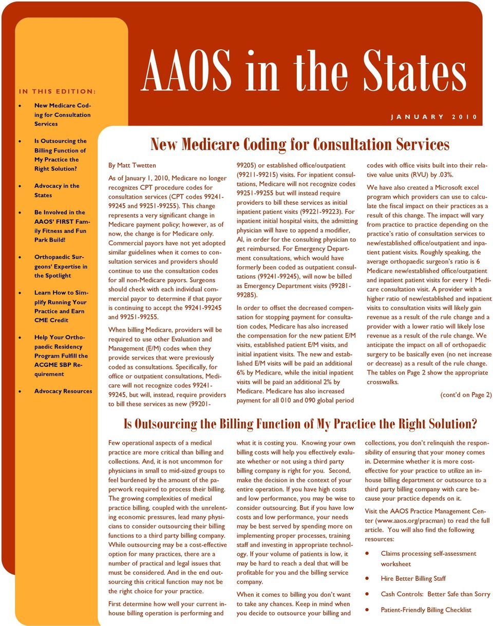 AAOS in the States  New Medicare Coding for Consultation