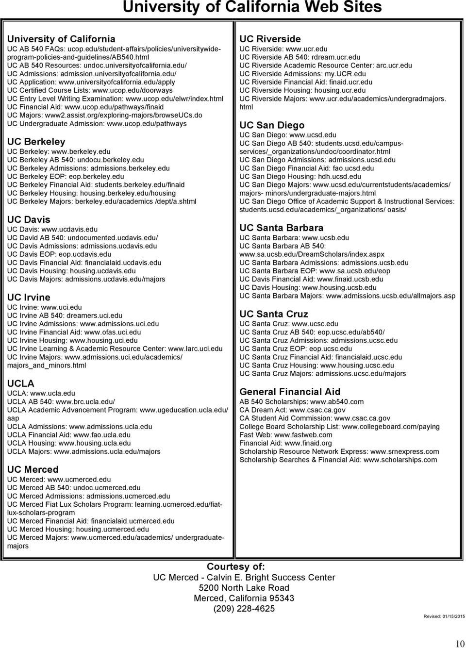 Checklist for Students Admitted to the University of California - PDF
