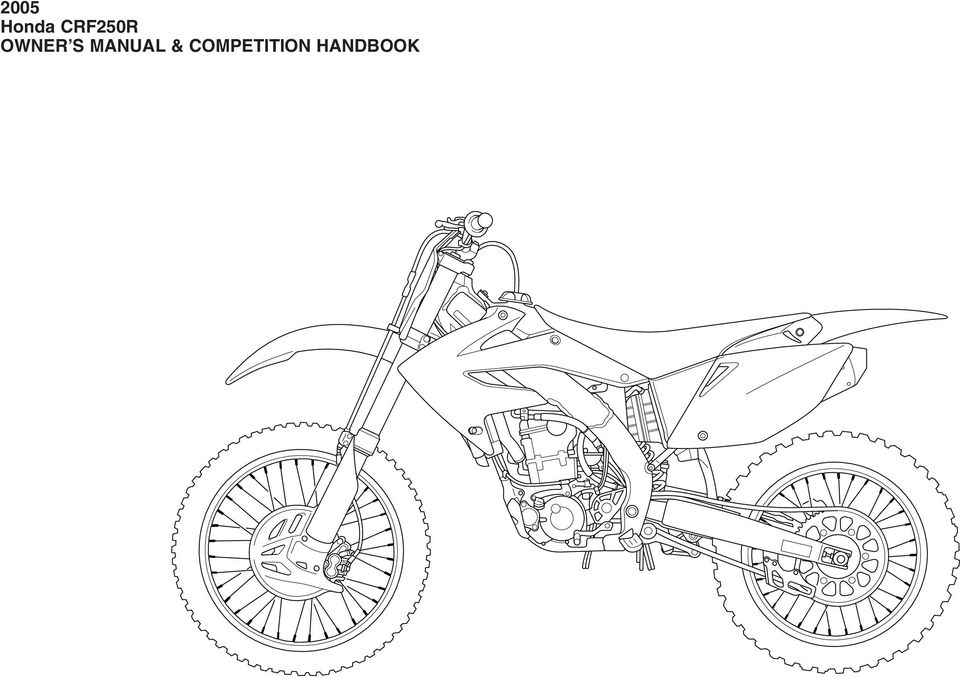 2005 Honda CRF250R OWNER S MANUAL & COMPETITION HANDBOOK - PDF