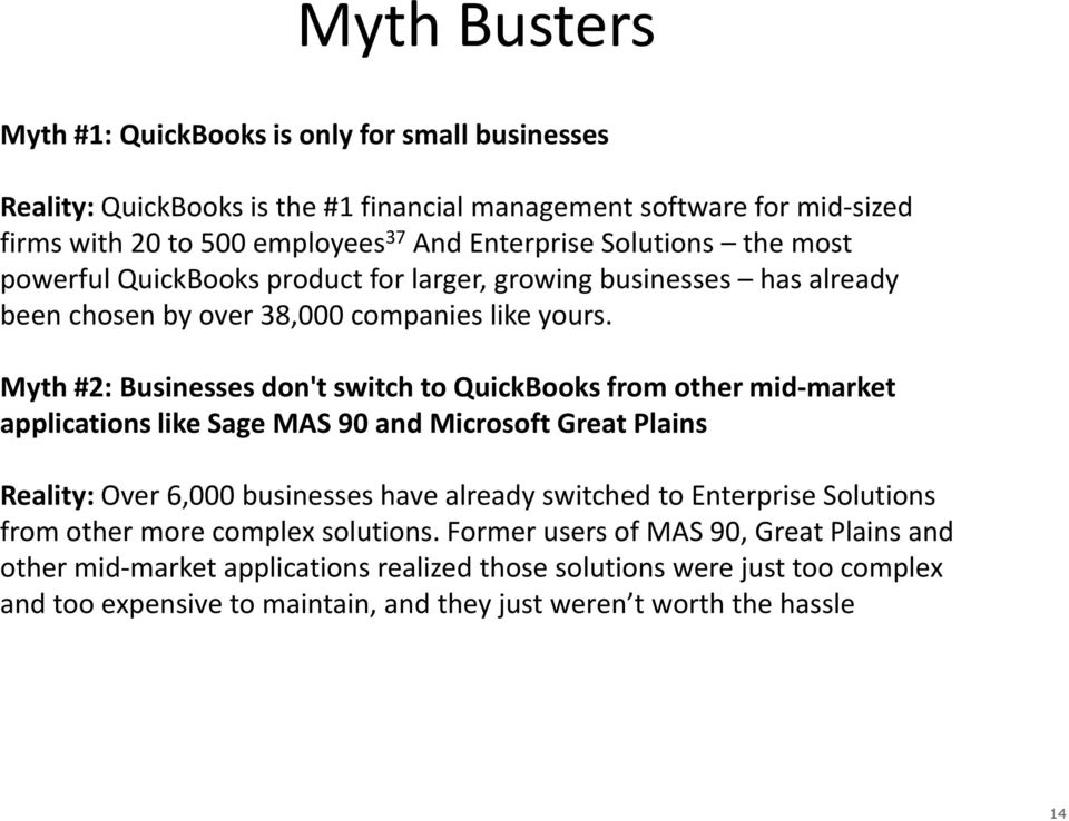 Myth #2: Businesses don't switch to QuickBooks from other mid-market applications like Sage MAS 90 and Microsoft Great Plains Reality: Over 6,000 businesses have already switched to