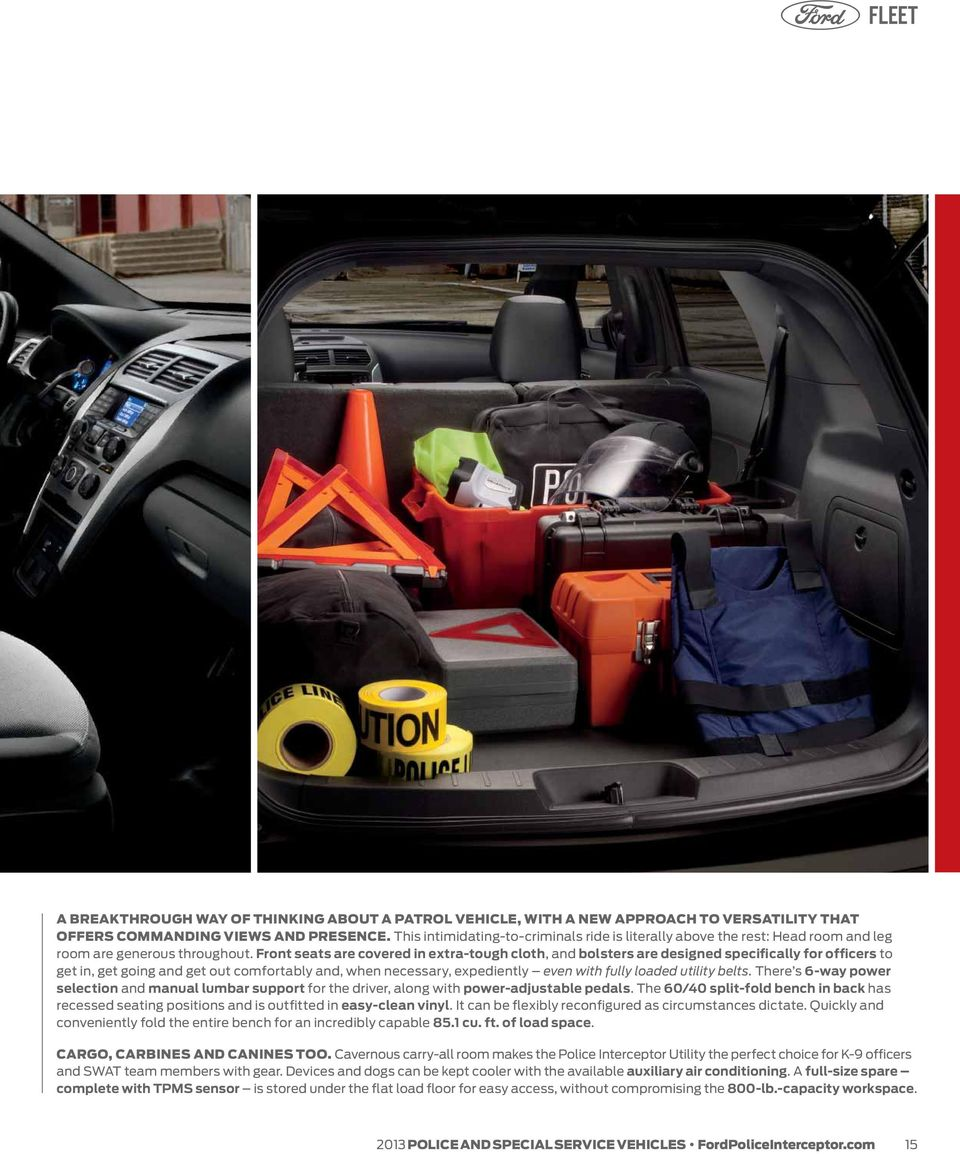 Police And Special Service Vehicles Pdf 2013 Ford Taurus Interceptor Wiring Diagrams Front Seats Are Covered In Extra Tough Cloth Bolsters Designed Specifically For