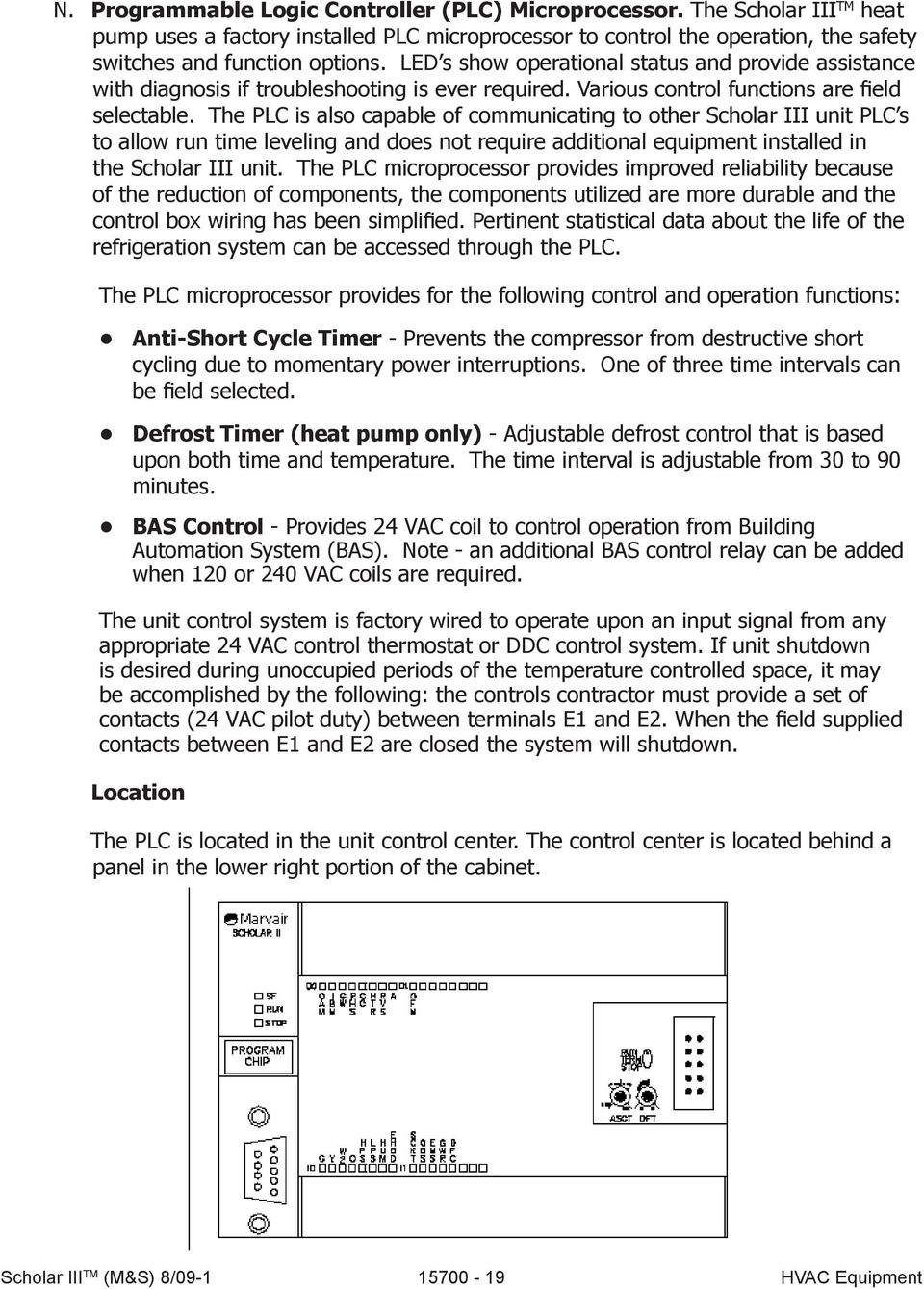 Scholar Iii Heat Pumps Air Conditioners Pdf Hvac Defrost Timer Wiring The Plc Is Also Capable Of Communicating To Other Unit S Allow