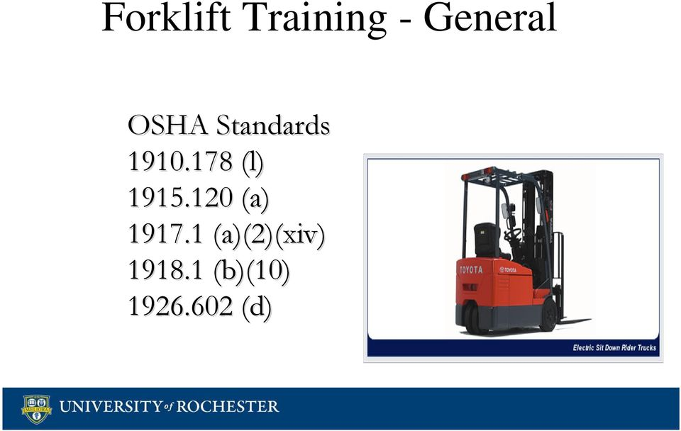 Forklift Training General Osha Standards L A A2xiv B