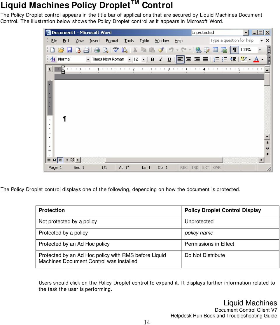 The Policy Droplet control displays one of the following, depending on how the document is protected.