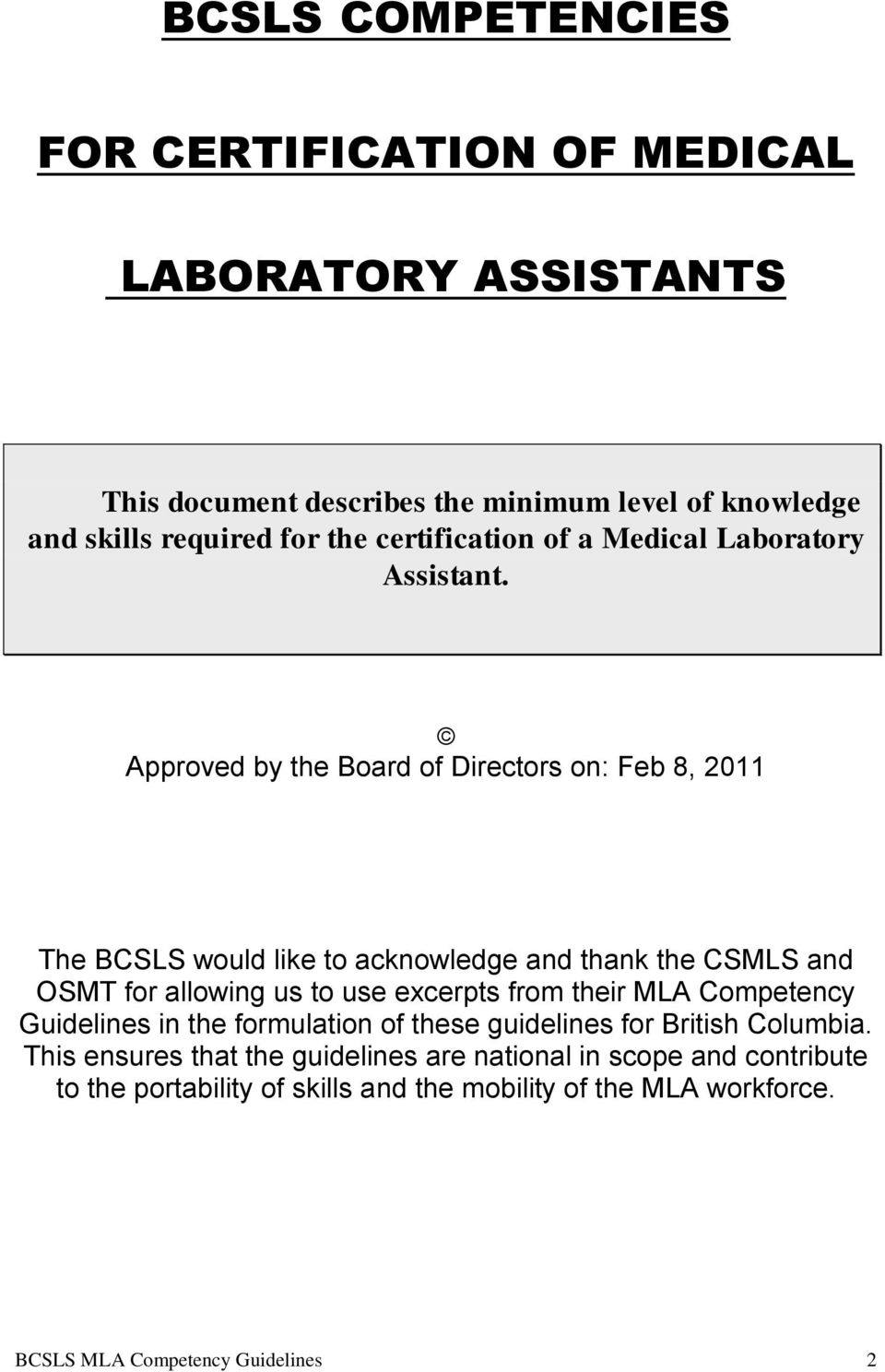 Competency Guidelines Medical Laboratory Assistant Pdf