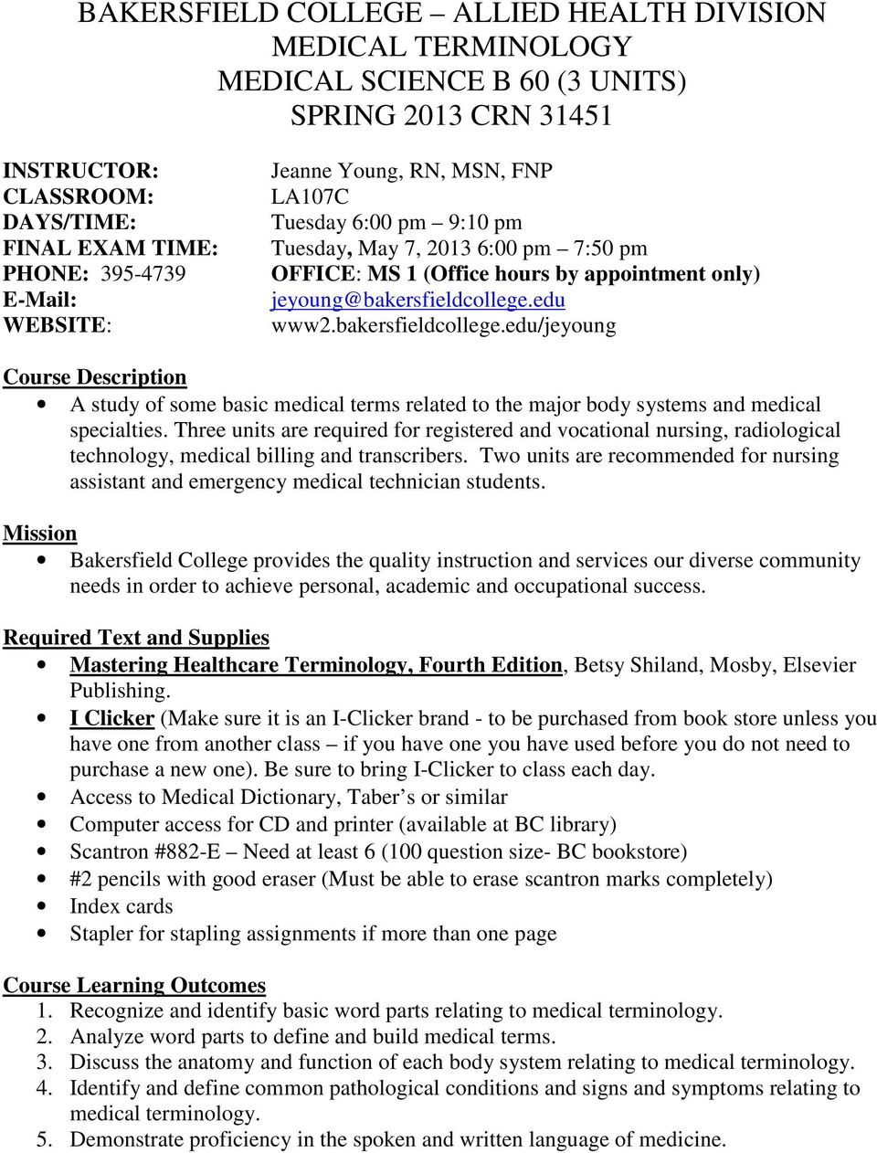 BAKERSFIELD COLLEGE ALLIED HEALTH DIVISION MEDICAL