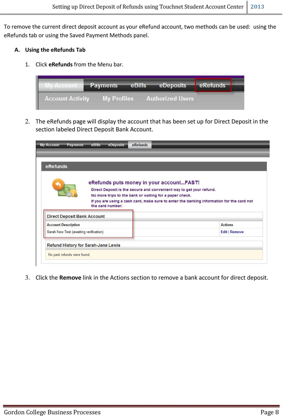 Setting up Direct Deposit of Refunds using Touchnet Student