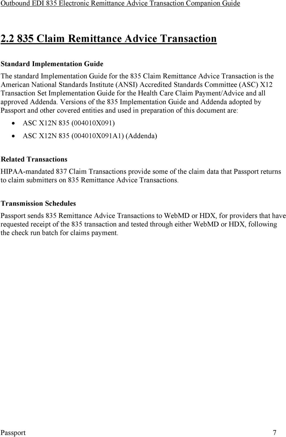HIPAA - ASC X12N Outbound EDI 835 Electronic Remittance